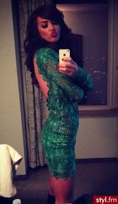 dress,lace dress,backless dress,bodycon dress,dark green dress