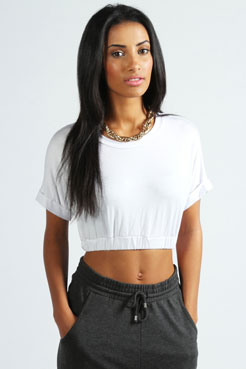 Susie Roll Back Sleeve Crop Top at boohoo.com