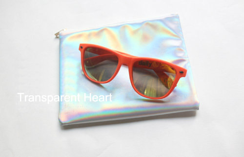Holographic bag clutch pouch holographic by transparentheart