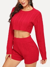 romper,girly,girl,girly wishlist,two-piece,matching set,cropped,crop tops,cropped sweater,crop,short,shorts,red,knitted sweater,knitted top,knitwear,knit