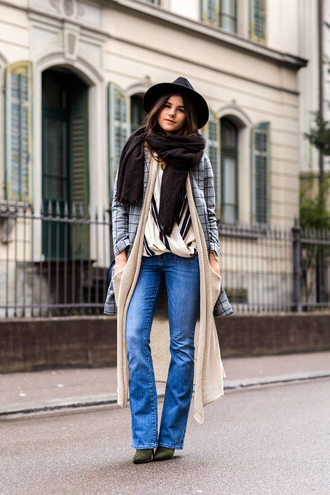 the fashion fraction blogger coat cardigan top jeans hat scarf shoes bag