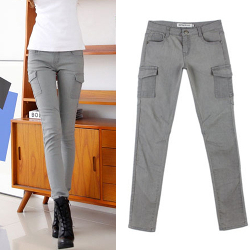 2014 Summer Fashion Women Jeans Skinny Cargo Pants Pockets Pencil ...
