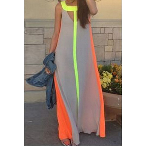 Color Block Hollow Out Fashionable Scoop Neck Sleeveless Maxi ...
