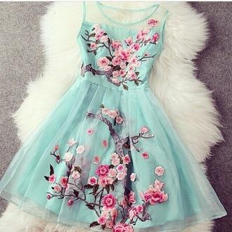 dress japanese cherry blossom turqouise flower instagram