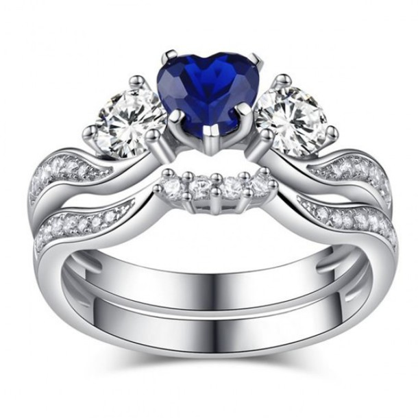 jewels gorgeous ring set heart shaped blue sapphire bridal ring