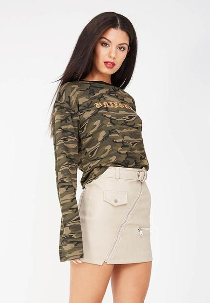 Leather Mini Skirt - Light Grey
