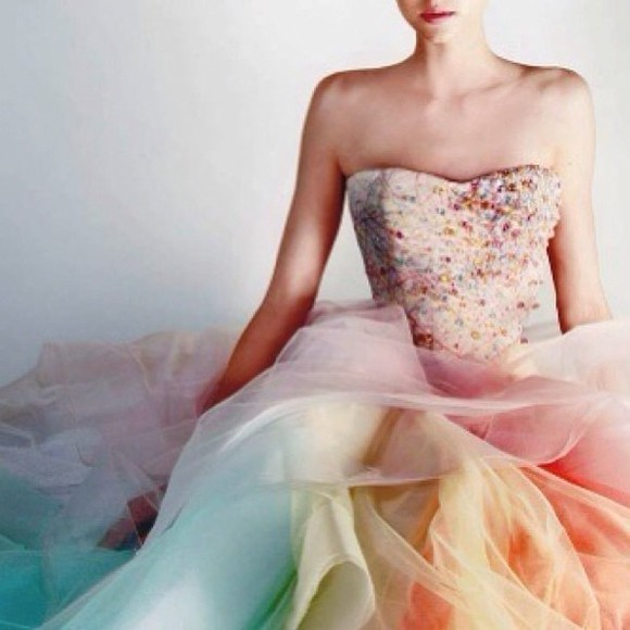 dress ball gown unique cute wedding dress wedding cocktail dress colorful gemstones bandeau dress