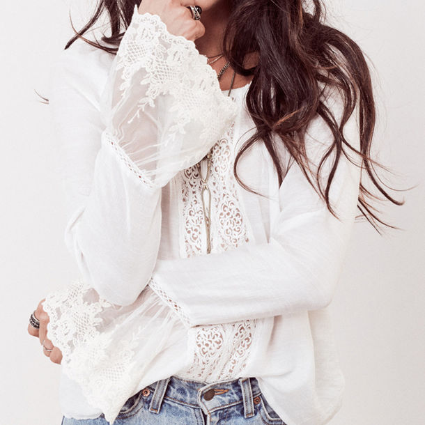dbc31de26bd1c blouse lace white blouse sexy top sexy boho bohemian floral beach  lovestitch trendy bell sleeves boho
