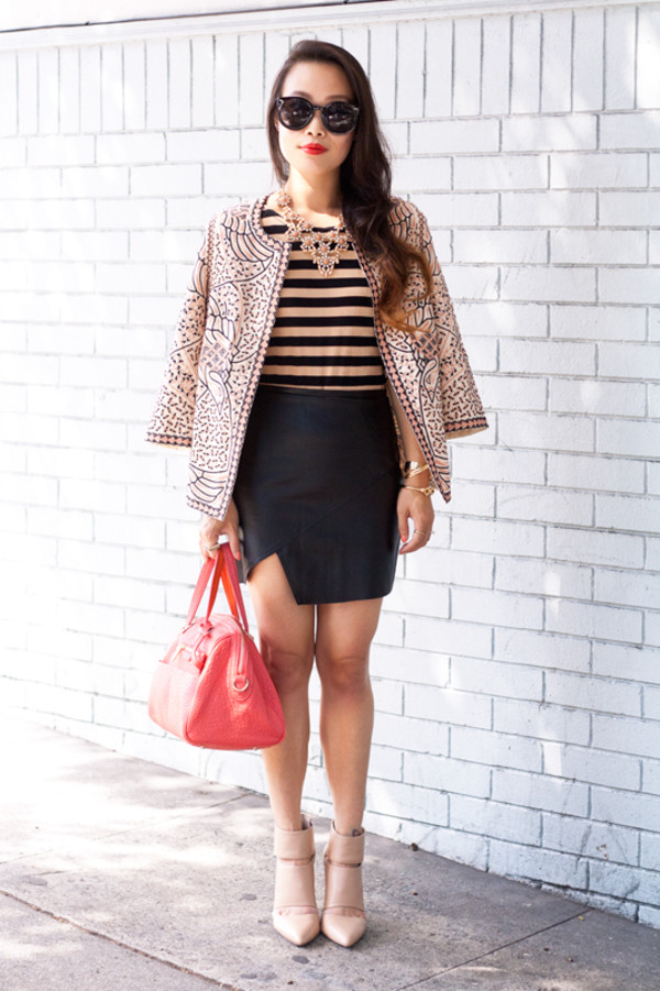 it's not her it's me blogger jacket top skirt shoes bag sunglasses