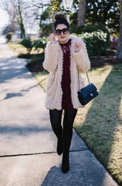 life & messy hair,blogger,coat,bag,tights,dress,sunglasses,chanel bag,fluffy,fuzzy coat,boots,winter outfits