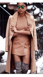 camel coat,camel skirt,leather skirt,grey boots,long coat,mini skirt,sunglasses,skirt,shoes,grey,overknees,wild lether,winter outfits,boots,camel,suede boots