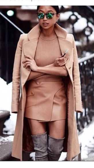 camel coat camel skirt leather skirt grey boots long coat mini skirt sunglasses long coats