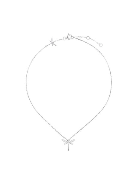 Anapsara women dragonfly necklace gold white grey metallic jewels