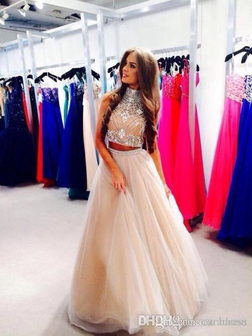 bd570ebc8058 Hot Fashion Two Pieces Prom Dresses A Line Cheap Party Dresses with Sleeves  Beaded Gown High ...