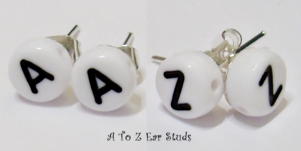 Personalised Alphabet Bead Stud Earrings Initial Letter Kitsch Emo Cute Funky - White or Black Name Earrings