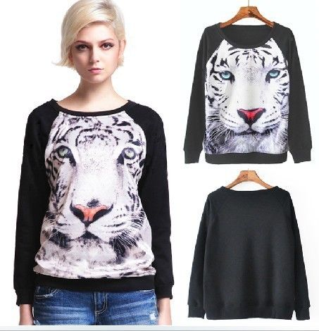 Women and Girl Tiger Pattern Animal Personality Sweater Fashion Personality Coat | eBay