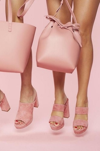 bag suede shoes cute bucket bag pink pink bag pink shoes mules
