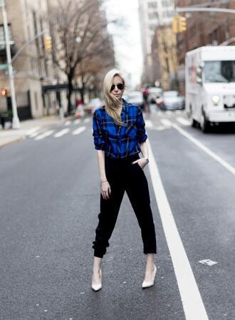 yael steren blogger top pants shoes sunglasses jewels make-up nail polish blue shirt flannel shirt black pants high heel pumps