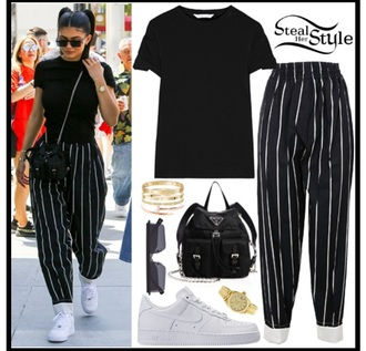 pants kylie jenner stripes black and white