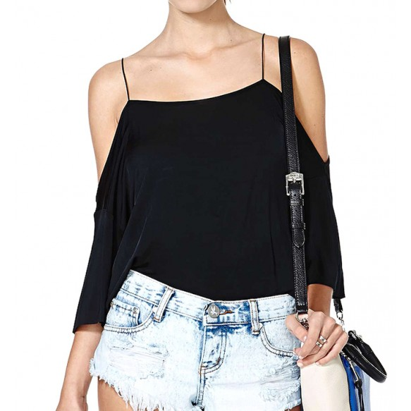 Cold Shoulder Narrow Strap Silky T-shirt Top at Style Moi
