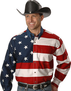 Roper american flag long sleeved shirt