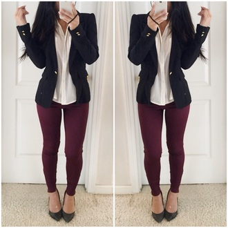 clothes jacket blouse top style shirt black military shoes sea of shoes burgundy tights pants leggings streetstyle streetwear workout shoes outfit fashion pointed toe fall sweater fall outfits jeans red lime sunday