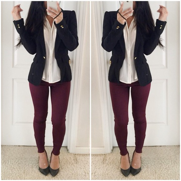 fashion style sea of shoes jeans fall outfits jacket black blouse top shirt outfit clothes shoes Red Lime Sunday military burgundy tights pants leggings streetstyle streetwear workout shoes pointed toe fall sweater