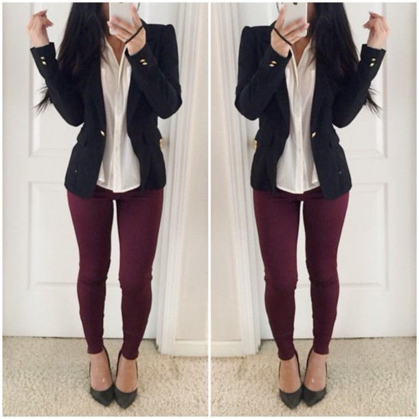Clothes jacket blouse top style shirt black shoes sea of shoes burgundy pants ...