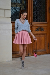 my silk fairytale,blogger,jewels,circle skirt,grey sweater,lace-up shoes,clutch,pink skirt