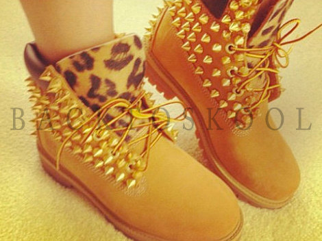 Screwed on leopard studded timberlands by backtoskool on etsy