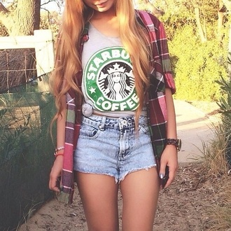 shorts high waisted shorts shirt sweater t-shirt starbucks coffee denim shorts hipster flannel shirt plaid lovethis green white coffee