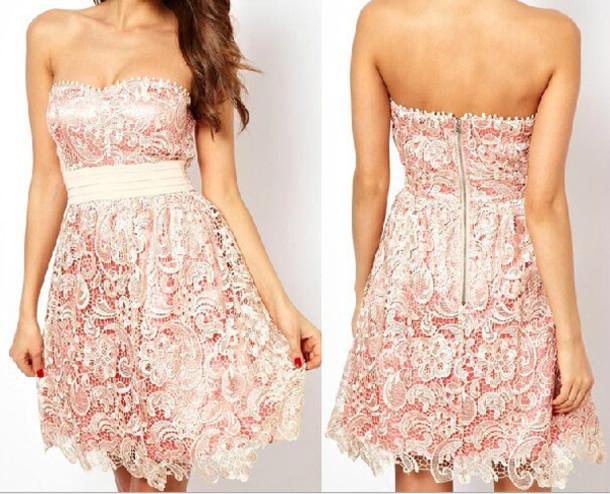 dress strapless dress strapless dress short light pink strapless dress party dress party dress lace dress lace party dress