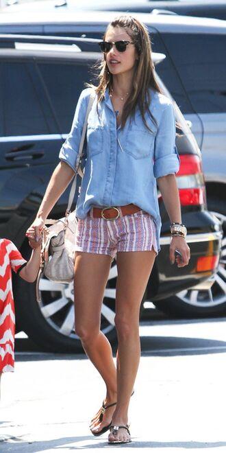 shorts linen linen shorts striped shorts shirt denim shirt blue shirt sunglasses flat sandals sandals belt alessandra ambrosio model celebrity