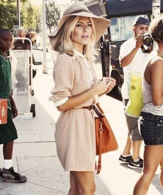 dress beige dress belt hat floppy hat pink beige neutral fall outfits spring fashion