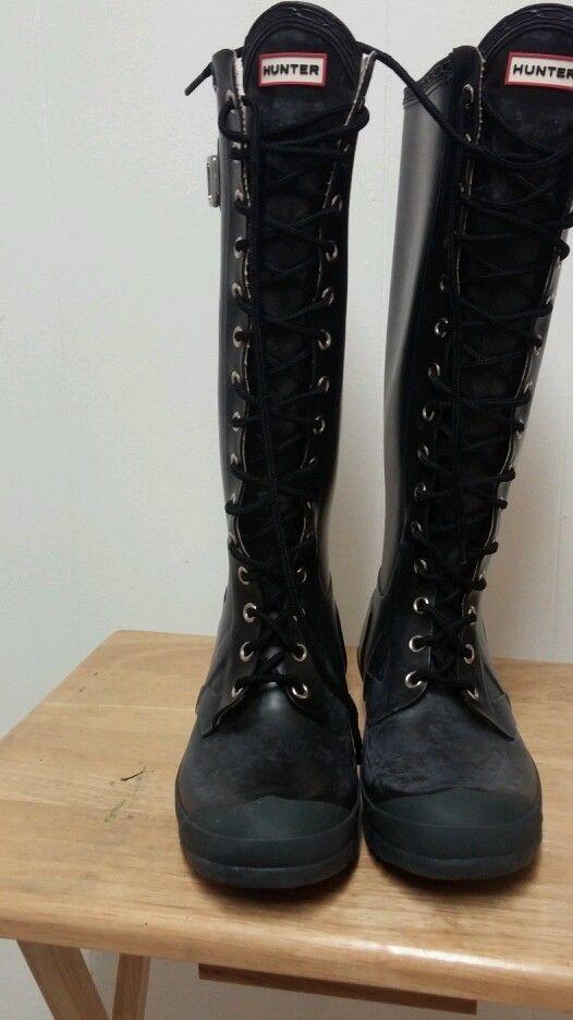 Hunter Tall Lace Up Rain Boots Size 7M 8F | eBay