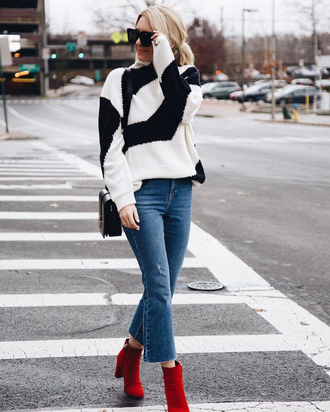 sweater tumblr stripes striped sweater knit knitwear knitted sweater sunglasses denim jeans blue jeans boots red boots