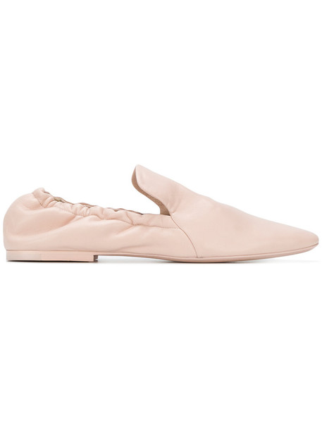 Jil Sander women loafers leather nude shoes