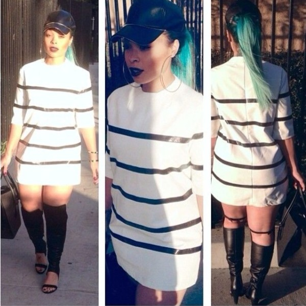 dress heather sanders pretty white dress leather black black panels panles