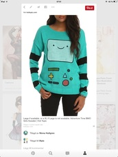 sweater,blue,bmo,adventure time,caroon,kids fashion,dress