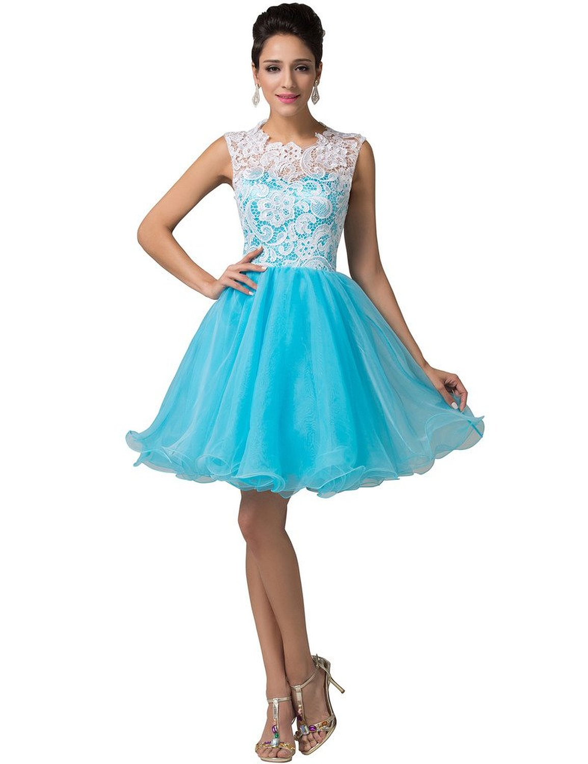 Grace Karin Sleeveless Lace Tulle Ball Cocktail Dress at Amazon Women's Clothing store: