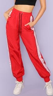pants,girly,girl,girly wishlist,red,joggers,track pants,joggers pants,joggers.,white