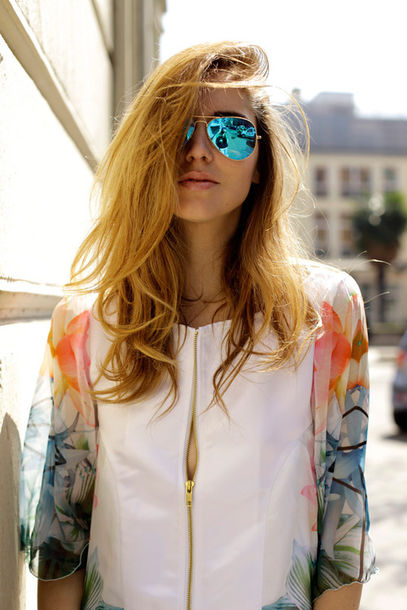 jacket colorful tumblr tumblr clothes colorful jacket chanel style jacket leather jacket blogger clothes hipster boho hippie flannel gold white fame fall outfits fall trend trendy tropical oriental print floral summer sunglasss blonde hair flowers top luxury sexy zip chiffon  dress chifon shirt