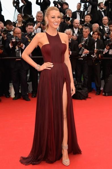 Fashion halter off the shoulder side slit wrinkled draped blake lively the 67th cannes film festival red carpet celebrity dress