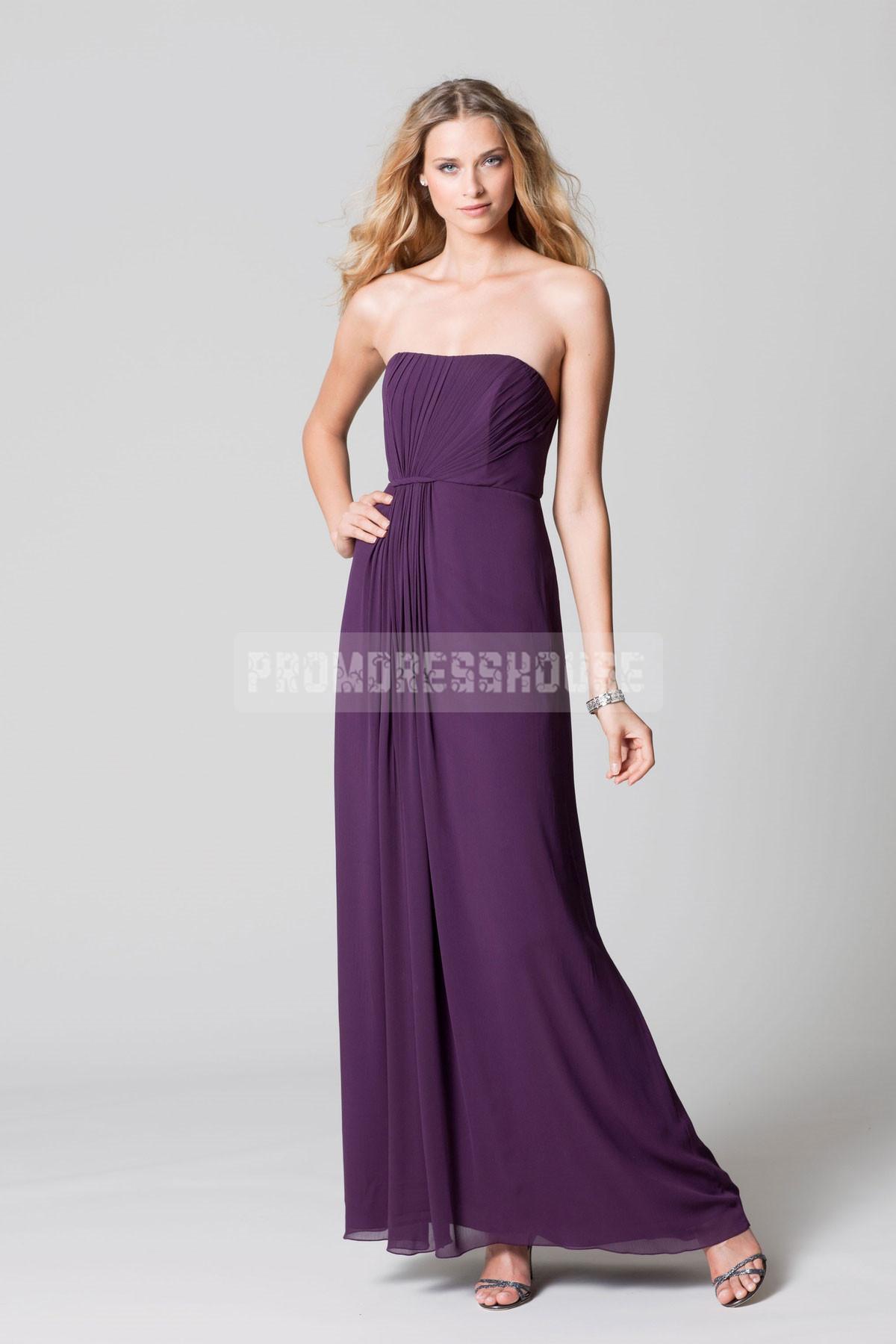 Timeless Grape Floor Length Chiffon Pleated A-line Bridesmaid Dress - Promdresshouse.com
