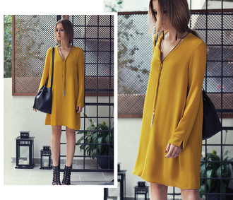 neon rock blogger mustard fall dress fall colors pendant long sleeve dress mango mustard dress