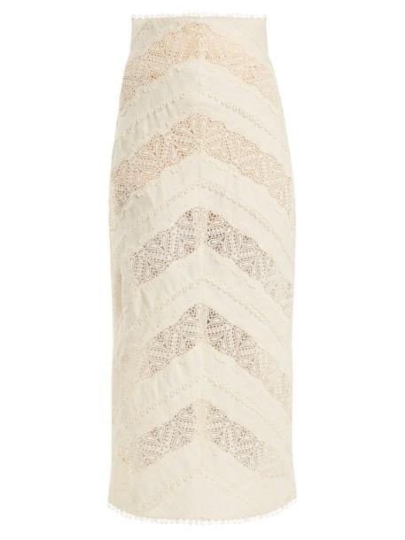 Zimmermann skirt heart lace chevron cream