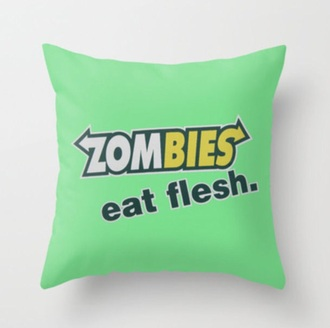 pillow green home accessory zombie quote on it pillow