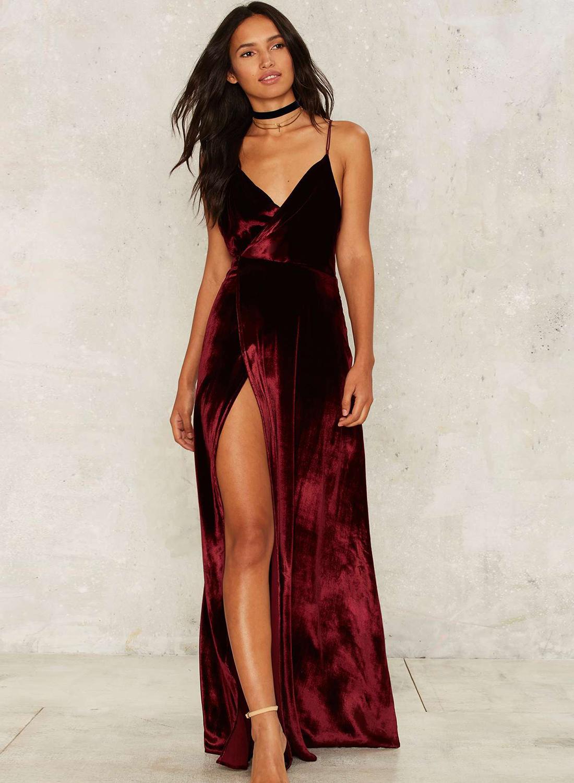 V Neck Backless Velvet Prom Dress - AZBRO.com