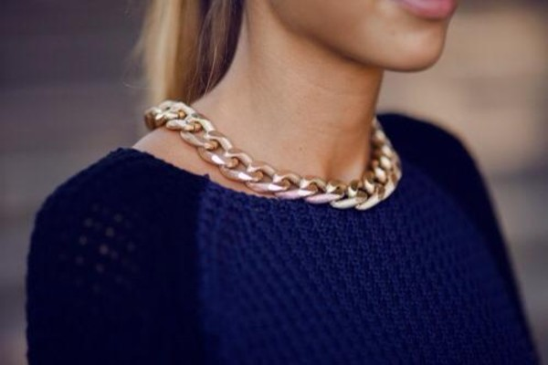 jewels sweater blouse necklace top blue gold chain