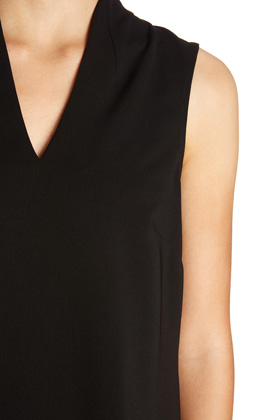 BLACK Funnel Neck Zip Back Shell Top